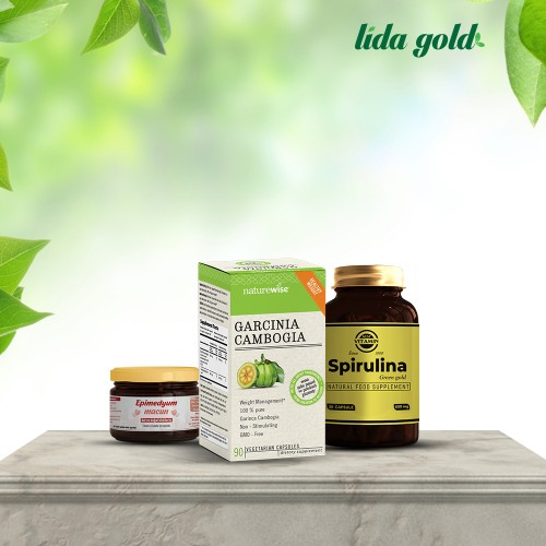 Garcinia (90) capsules with Spirulina (30) capsules and with fortified honey (50) g
